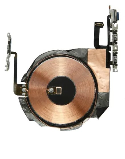 Внутрикорпусная катушка для беспроводной зарядки со шлейфом кнопок включения/выключения и регулировки громкости для iPhone 12