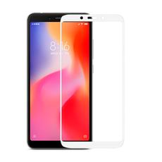 Защитное стекло для Xiaomi Redmi 6a, 5D (полная проклейка), цвет: белый