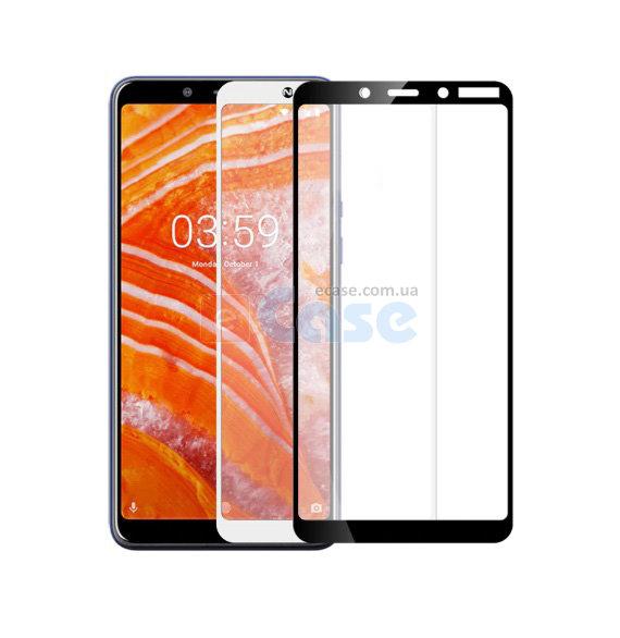 Защитное стекло для Nokia 1 Plus 5D (полная проклейка) цвет: черный
