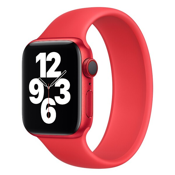 Силиконовый монобраслет для Apple Watch 3 38mm, цвет: красный (размер: L)