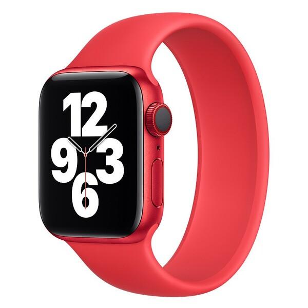 Силиконовый монобраслет для Apple Watch 5 44mm, цвет: красный (размер: L)