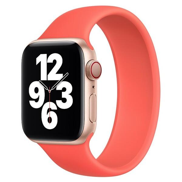 Силиконовый монобраслет для Apple Watch 5 44mm, цвет: коралловый (размер: S)