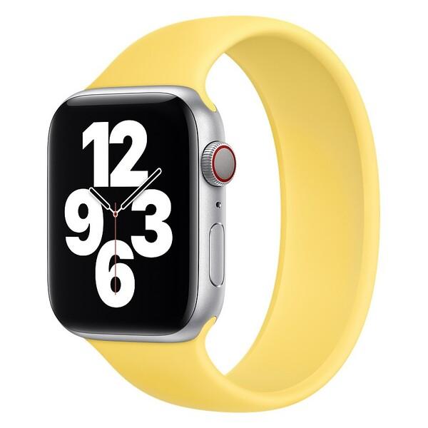 Силиконовый монобраслет для Apple Watch 5 44mm, цвет: желтый (размер: S)