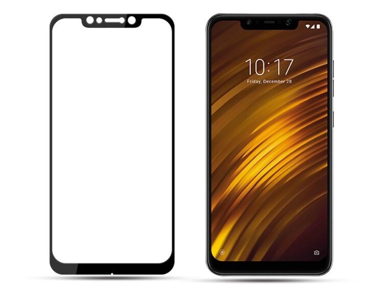 Защитное стекло для Xiaomi Pocophone F1 5D (полная проклейка) цвет: черный