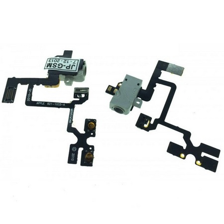 Шлейф кнопок громкости, вибрации и разъема наушников Audio Jack для Apple iPhone 4, цвет: белый
