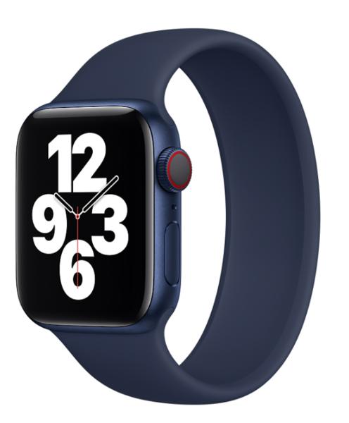 Силиконовый монобраслет для Apple Watch 4 44mm, цвет: синий (размер: L)