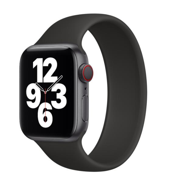 Силиконовый монобраслет для Apple Watch 4 44mm, цвет: черный (размер: L)