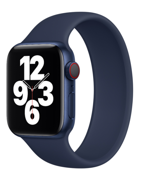 Силиконовый монобраслет для Apple Watch 5 44mm, цвет: синий (размер: L)