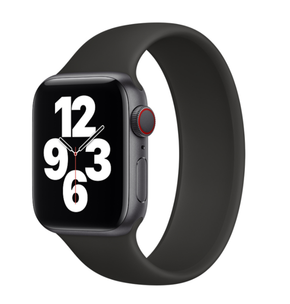 Силиконовый монобраслет для Apple Watch 5 44mm, цвет: черный (размер: L)