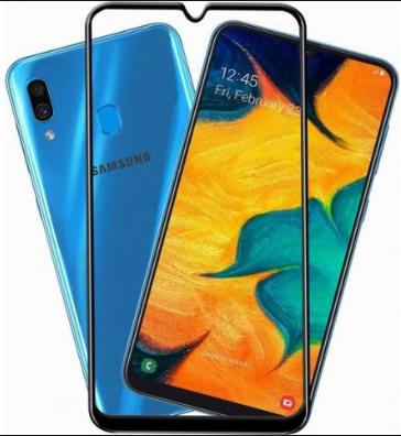 Защитное стекло для Samsung Galaxy A30 (A305FN) 5D (полная проклейка) цвет: белый