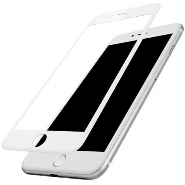 Защитное стекло для Apple iPhone 6 Plus, 5D (полная проклейка), цвет: белый