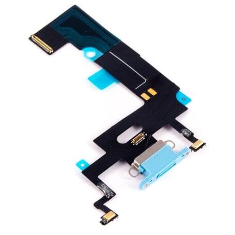 Шлейф с разъемом зарядки и микрофоном для Apple iPhone XR (Charge Conn), цвет: голубой