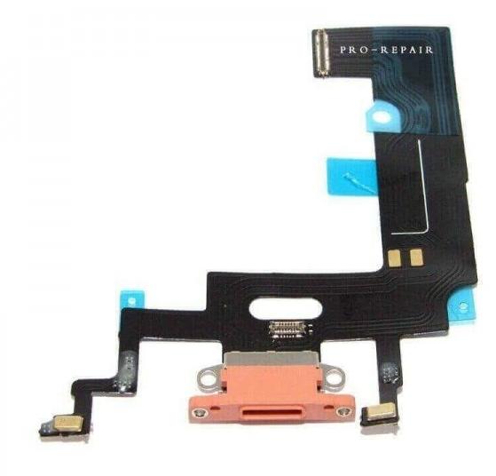 Шлейф с разъемом зарядки и микрофоном для Apple iPhone XR (Charge Conn), цвет: коралловый