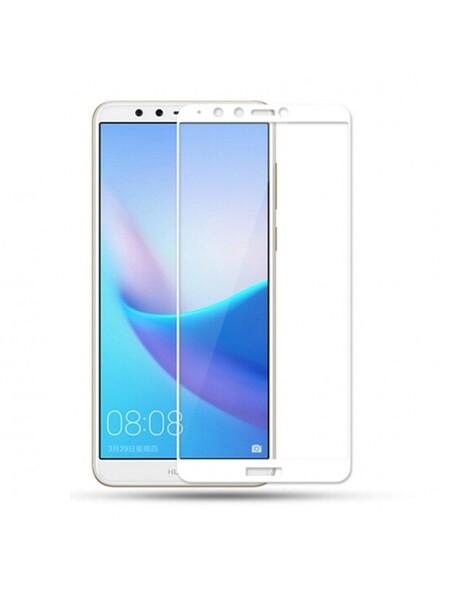 Защитное стекло для Huawei Y9 2018 5D (полная проклейка) цвет: белый