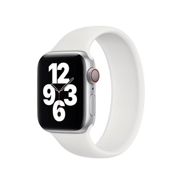 Силиконовый монобраслет для Apple Watch 5 44mm, цвет: белый (размер: M)