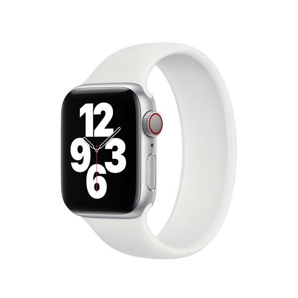 Силиконовый монобраслет для Apple Watch 5 44mm, цвет: белый (размер: S)