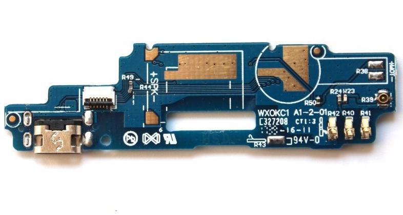 Нижняя плата для ZTE Blade A610 с разъемом зарядки и микрофоном