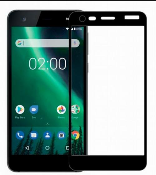 Защитное стекло для Nokia 2 5D (полная проклейка), цвет: черный