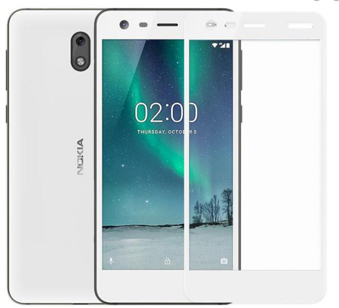 Защитное стекло для Nokia 2 5D (полная проклейка), цвет: белый
