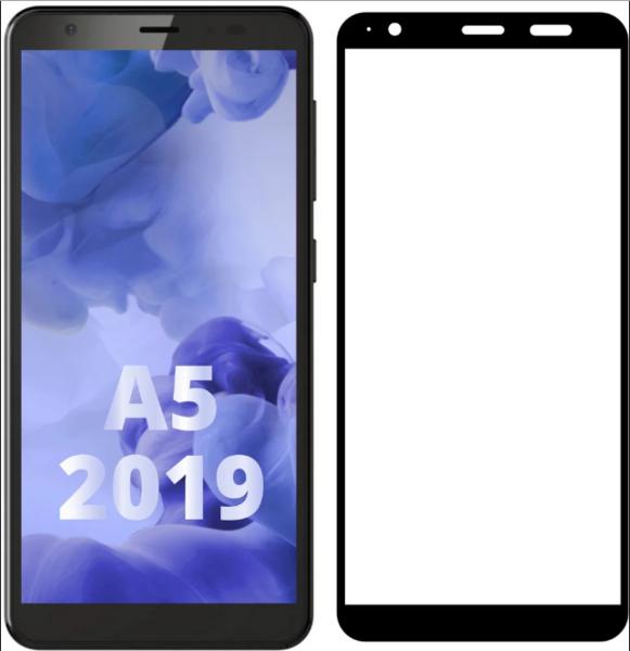 Защитное стекло для ZTE Blade A5 2019 5D (полная проклейка), цвет: черный