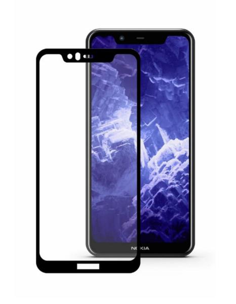 Защитное стекло для Nokia 5.1 Plus + 5D (полная проклейка) цвет: черный