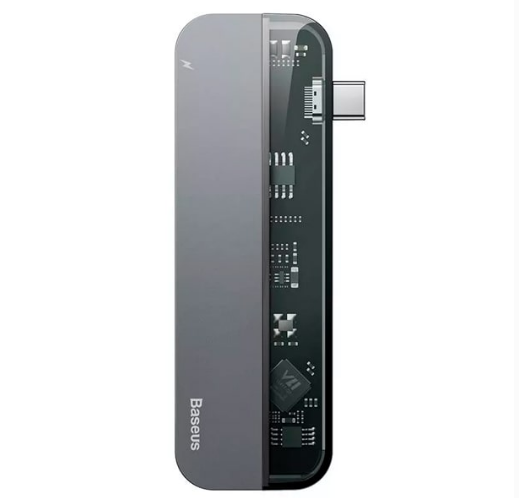 USB-хаб (разветвитель) Baseus Transparent Series Type-C Multifunctional HUB Adapter, цвет: серый