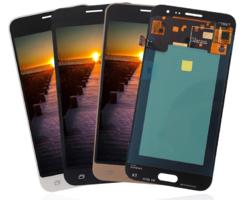 Экран для Samsung Galaxy J3 2016 с тачскрином, цвет: золотой, OLED