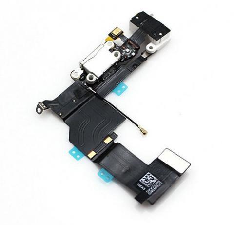 Шлейф разъема зарядки и разъема наушников Audio Jack для Apple iPhone 5S (Charge Conn), цвет: белый